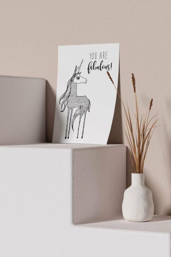 "Werjant artprint portrait mockup unicorn LIEB & KÜHN ""Unicorn"" Print"