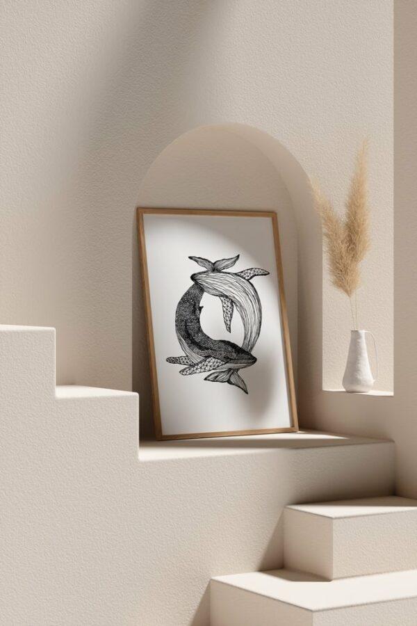 "Werjant artprint portrait mockup2 whales LIEB & KÜHN ""Whales"" Print"