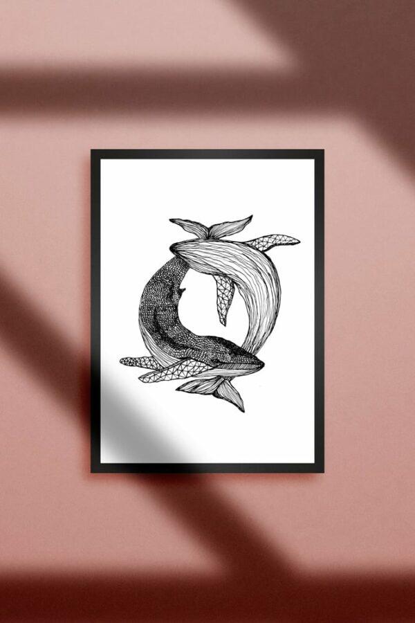 """Werjant artprint portrait whales LIEB & KÜHN """"Whales"""" Print"""