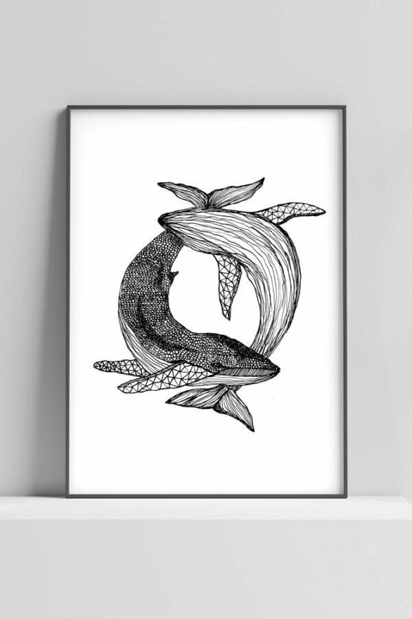 """Werjant artprint portrait whales Kopie LIEB & KÜHN """"Whales"""" Print"""