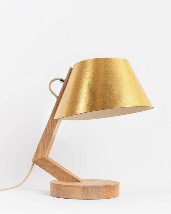 Tischlampe 1411 aus Eiche Lampenschirm aus Ananasfasern konisch ALMUT von Wildheim LIEB & KÜHN Tischlampe 1411 konisch aus Eiche