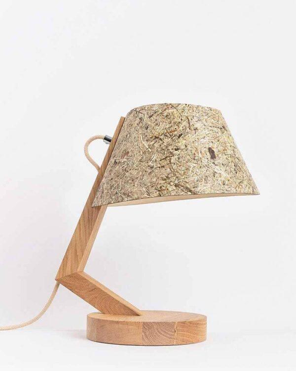 Tischlampe 1411 aus Eiche Lampenschirm aus Heu konisch ALMUT von Wildheim LIEB & KÜHN Tischlampe 1411 konisch aus Eiche