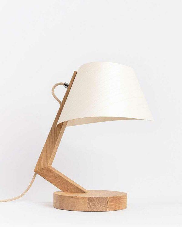 Tischlampe 1411 aus Eiche Lampenschirm aus Holz konisch ALMUT von Wildheim LIEB & KÜHN Tischlampe 1411 konisch aus Eiche