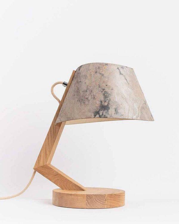 Tischlampe 1411 aus Eiche Lampenschirm aus Stein konisch ALMUT von Wildheim LIEB & KÜHN Tischlampe 1411 konisch aus Eiche